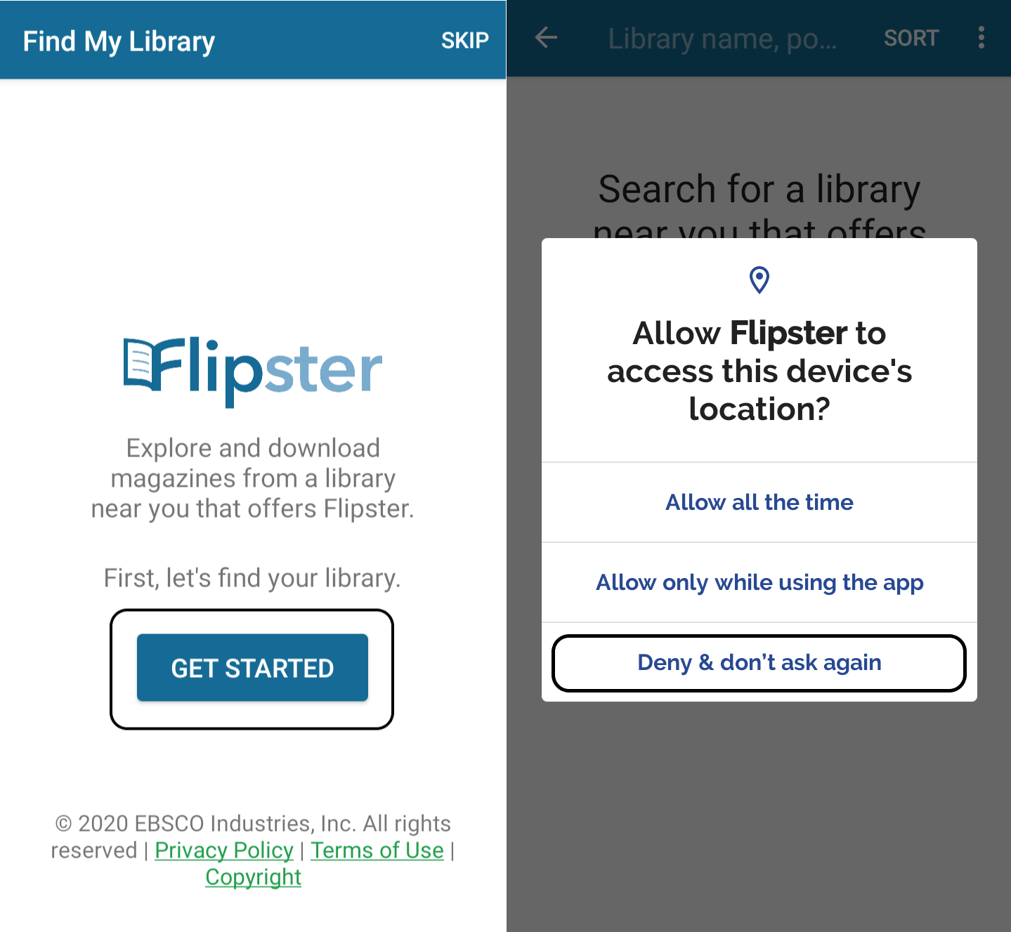 Flipster's get started and library location search features