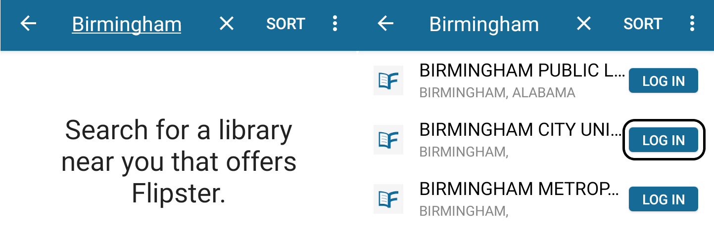 Flipster's library location search results and login options