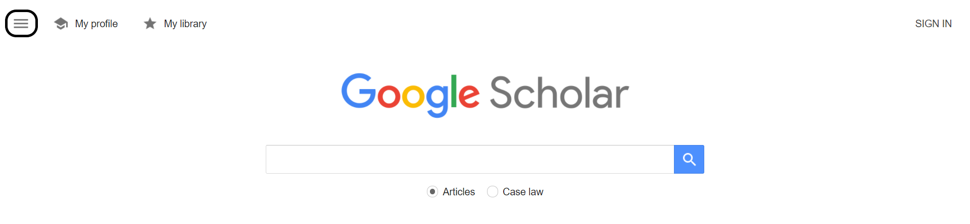 Google Scholar homepage with hamburger menu highlighted