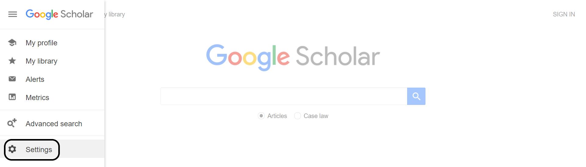 Google Scholar's hamburger menu with the settings optiion highlighted