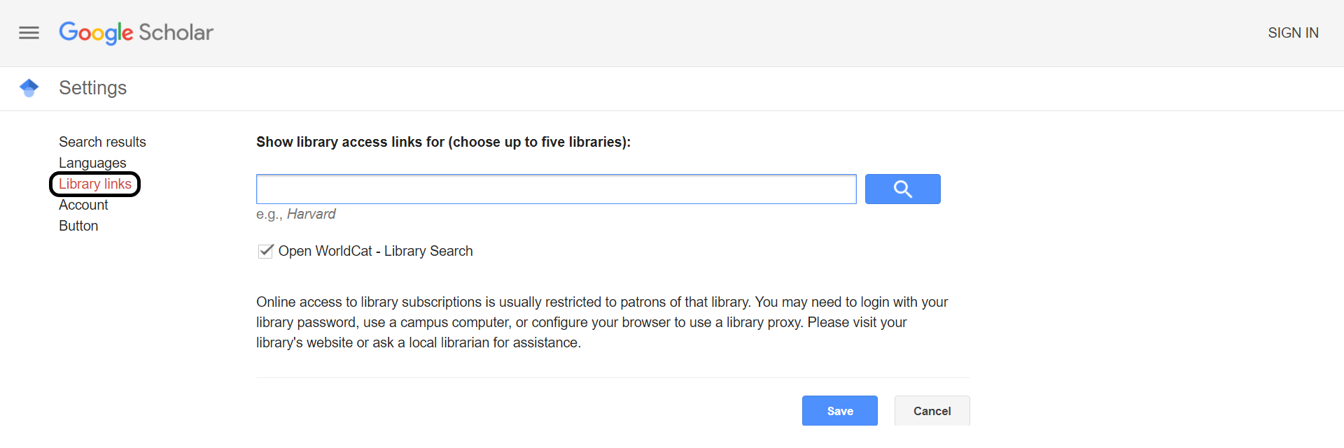 Google Scholar's settings menu with the library links option highlighted