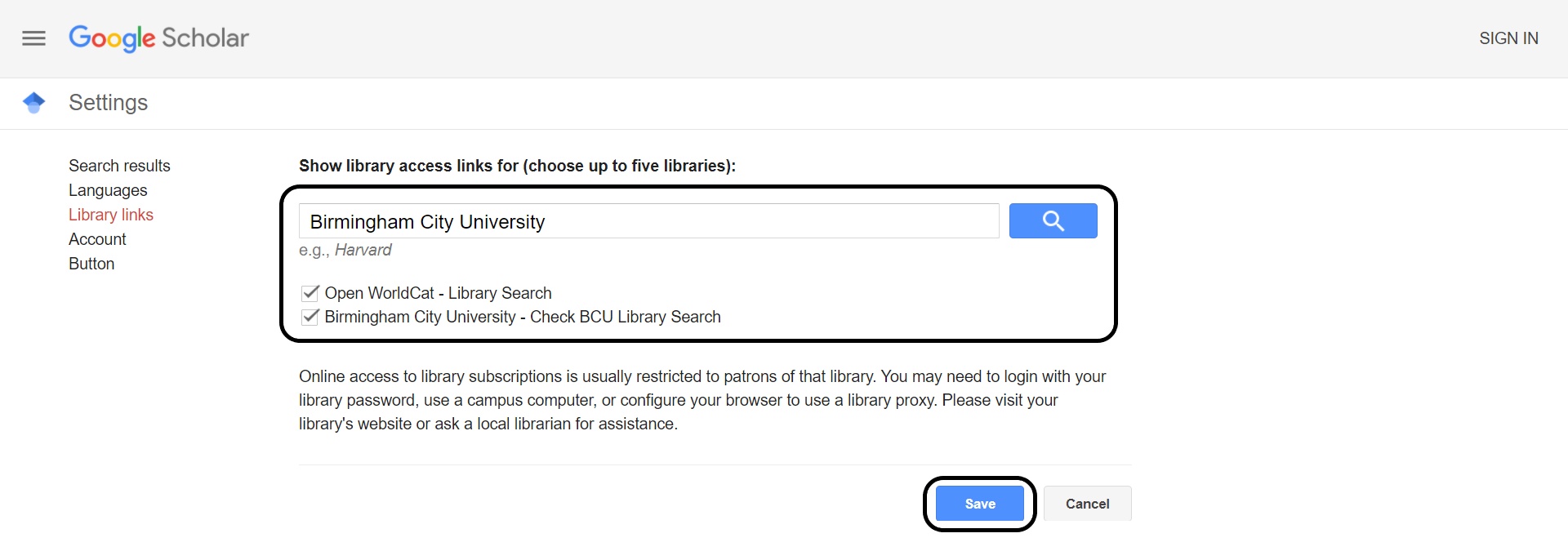Checkbox for Birmingham City University's library link ticked and save button highlighted