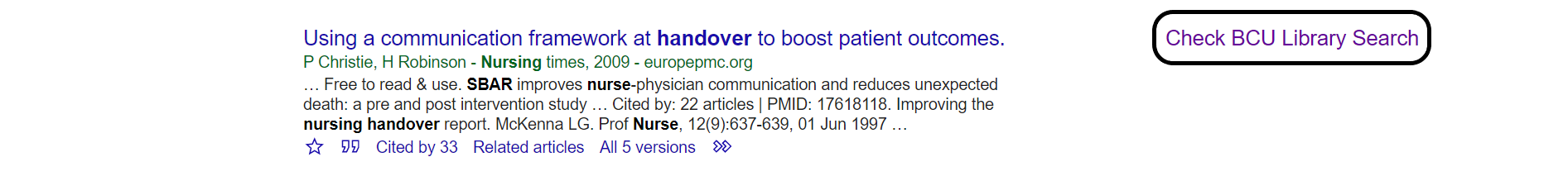Google Scholar search result with Check BCU Library Search library link highlighted