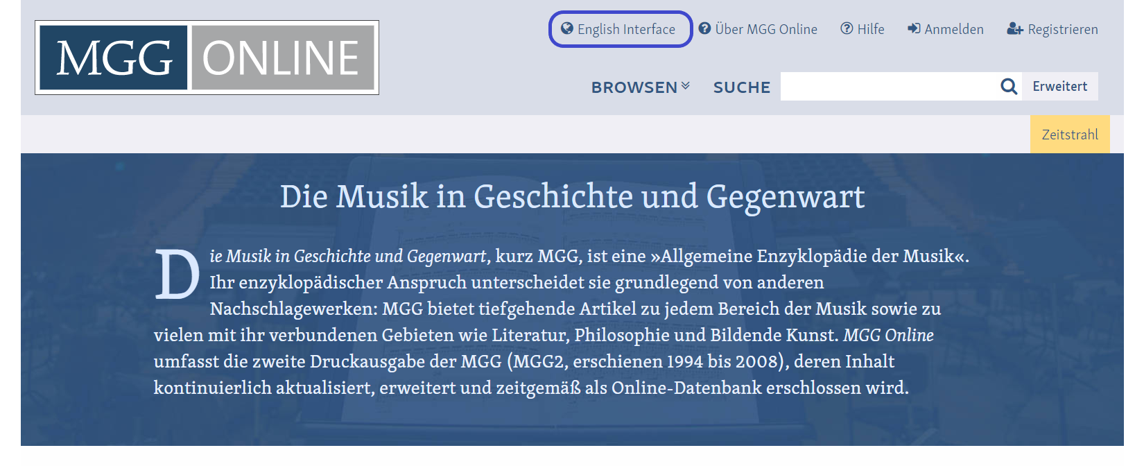 Changing the MGG Online interface from German to English