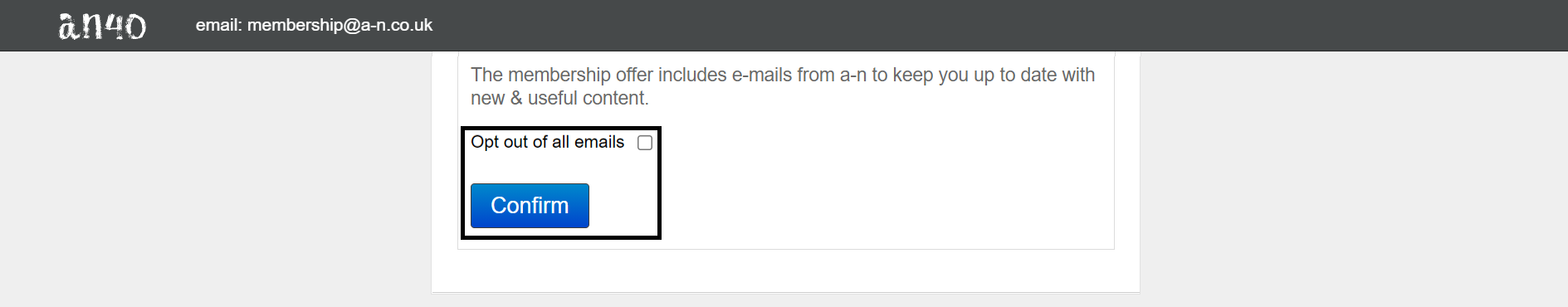 Checkbox to opt out of all email and confirm button highlighted