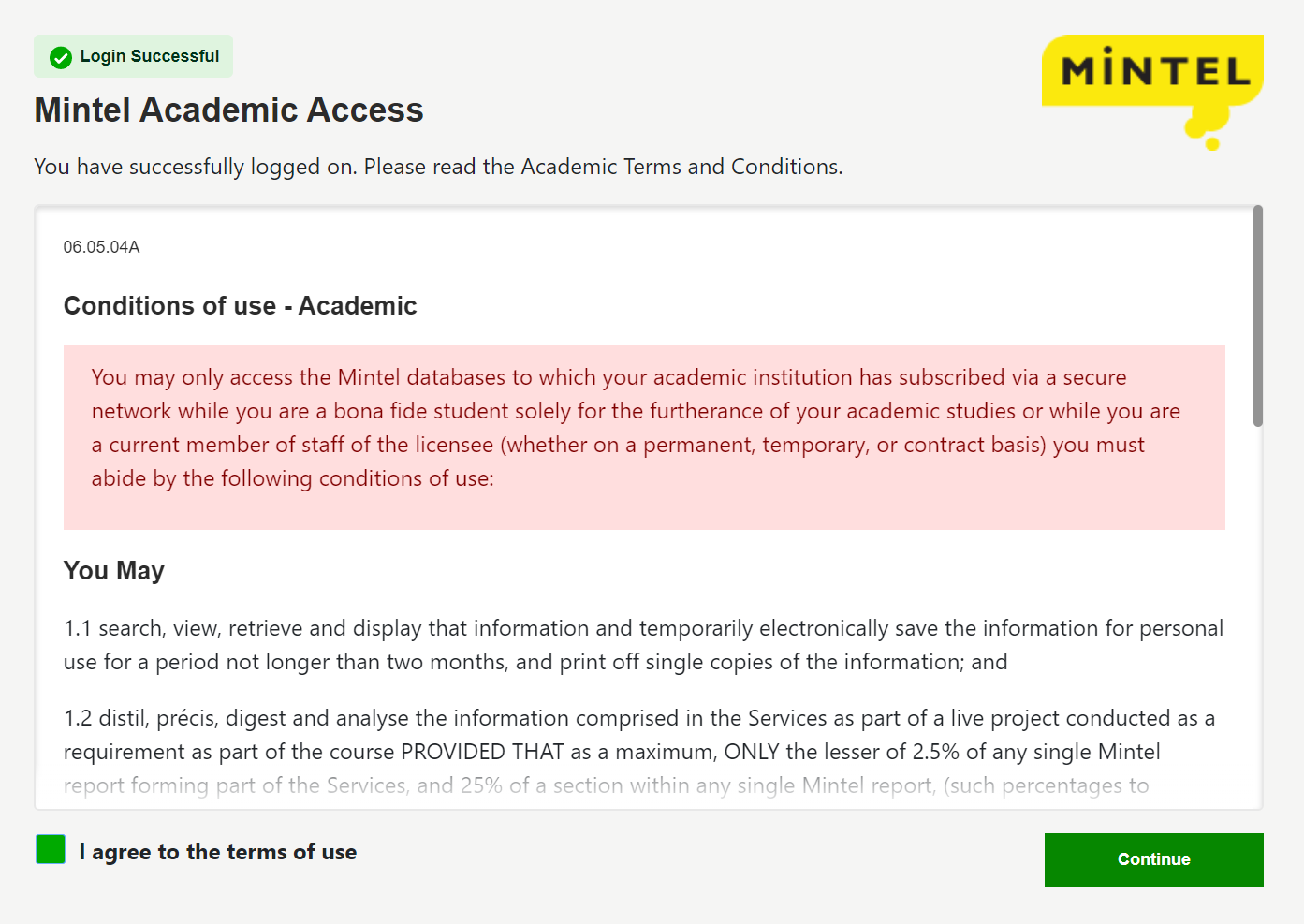 Mintel terms and conditions of use