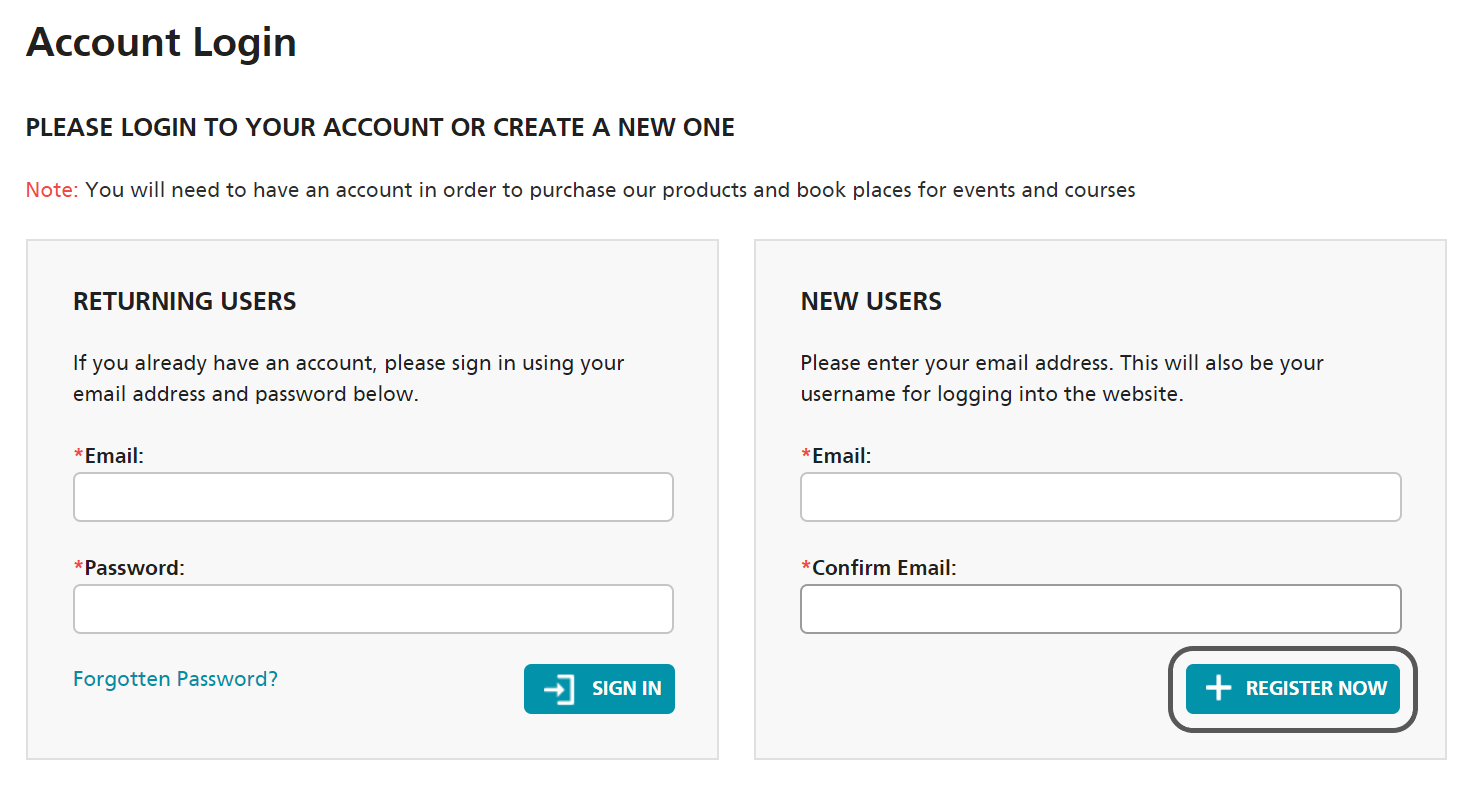 NEC Contracts registration page requesting user to enter and confirm their BCU email address