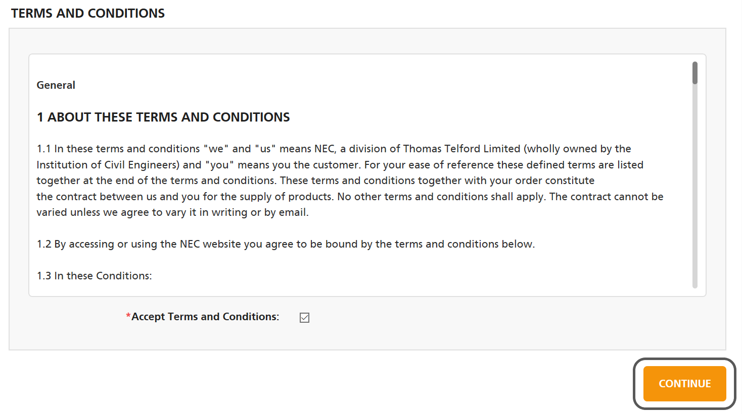 Read and accept the NEC Contracts terms and conditions