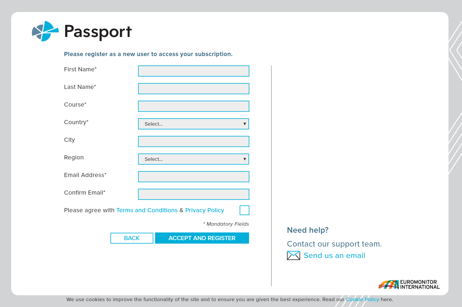 Euromonitor's registration page for users of Passport
