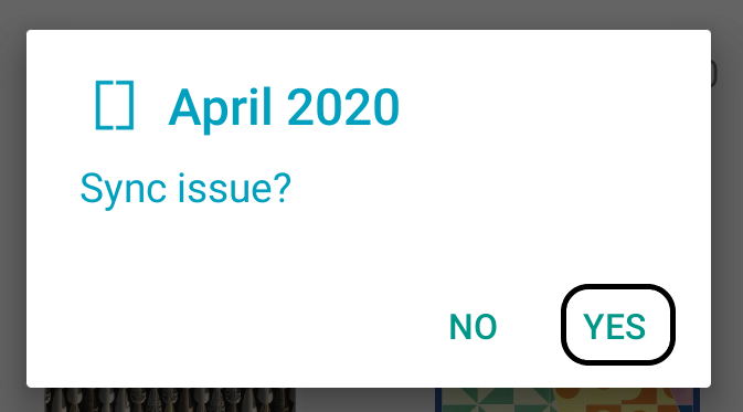 Exactly pop-up menu asking requesting to sync issue