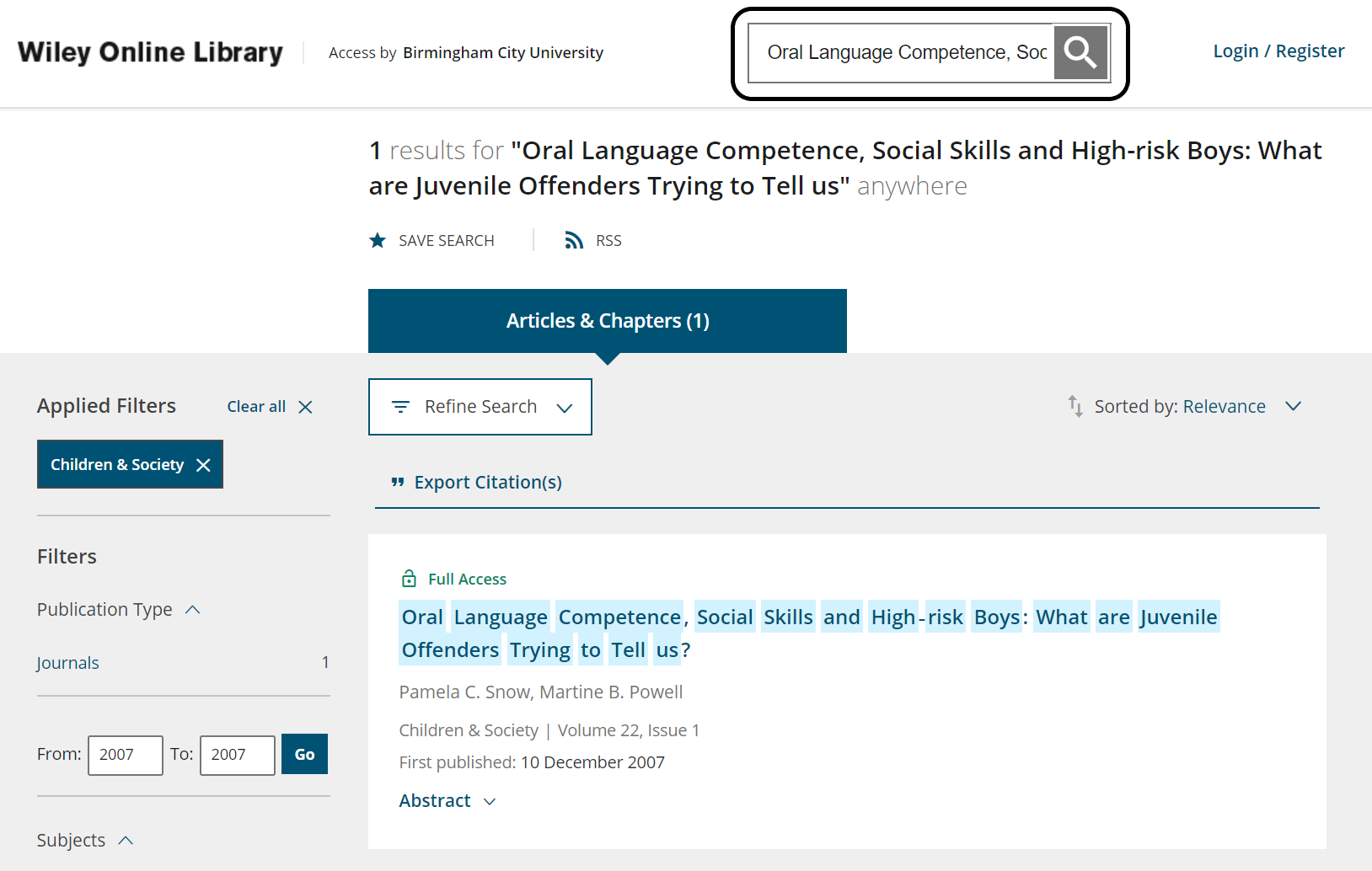 Search for the journal article by title