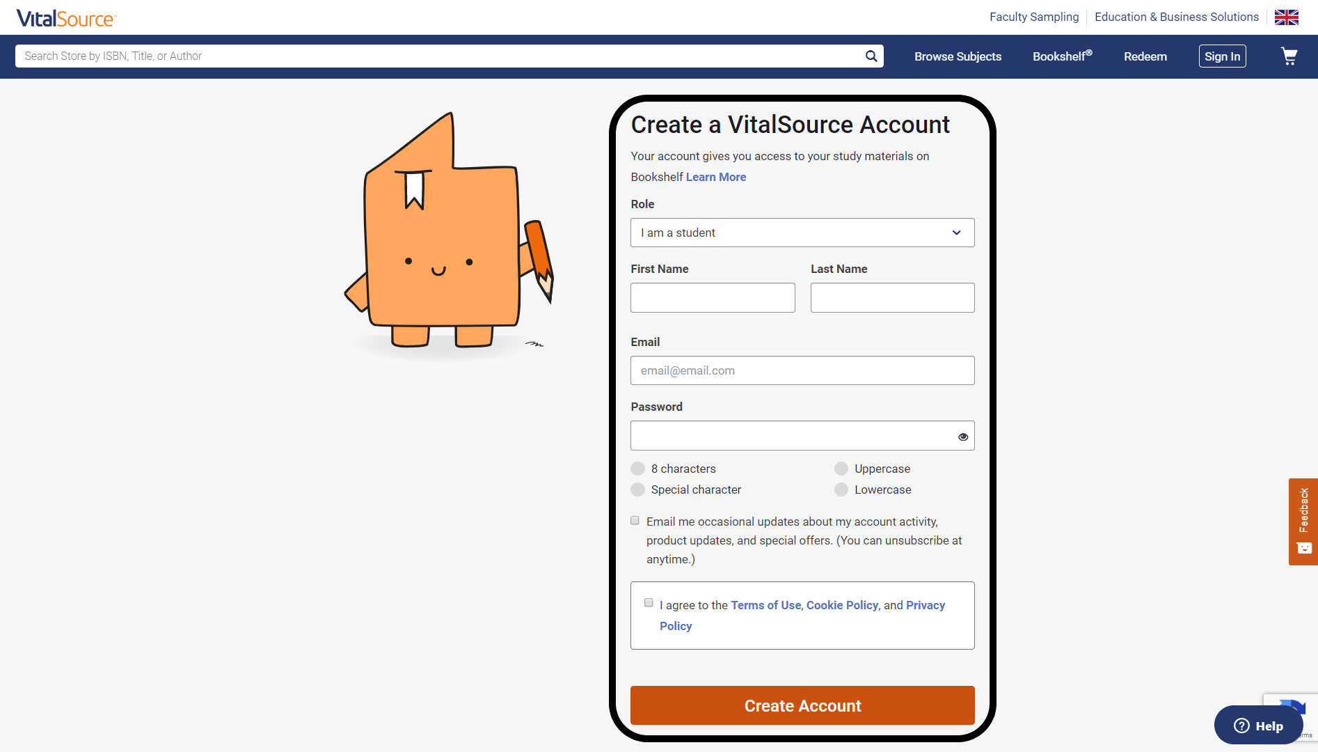 Create a free account with VitalSource Helps