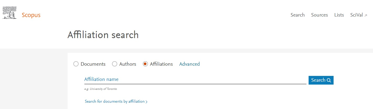 Affiliation search in Scopus