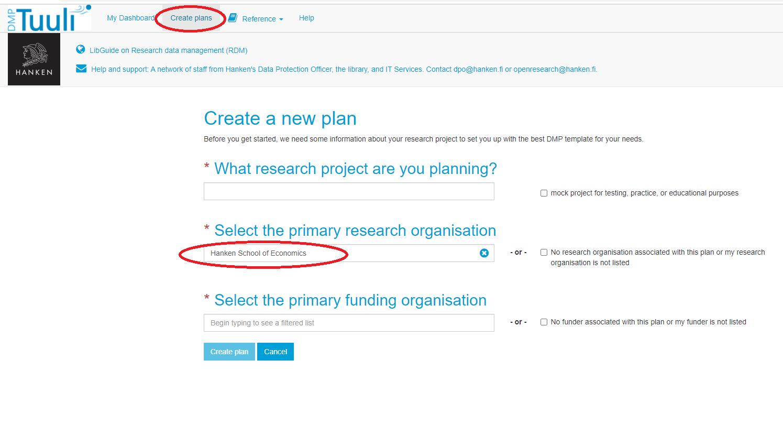 Create plans i DMPTuuli