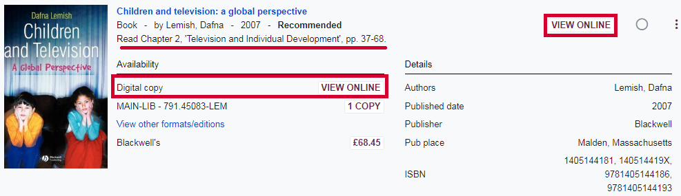 Accessing a digitised chapter on an online Reading List