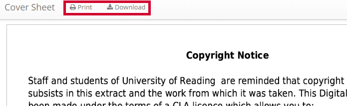 Printing or downloading a digitised chapter from an online Reading List.