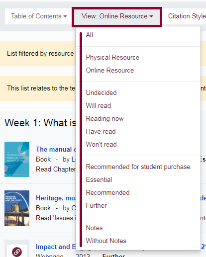 Screenshot of options to filter an online Reading List.