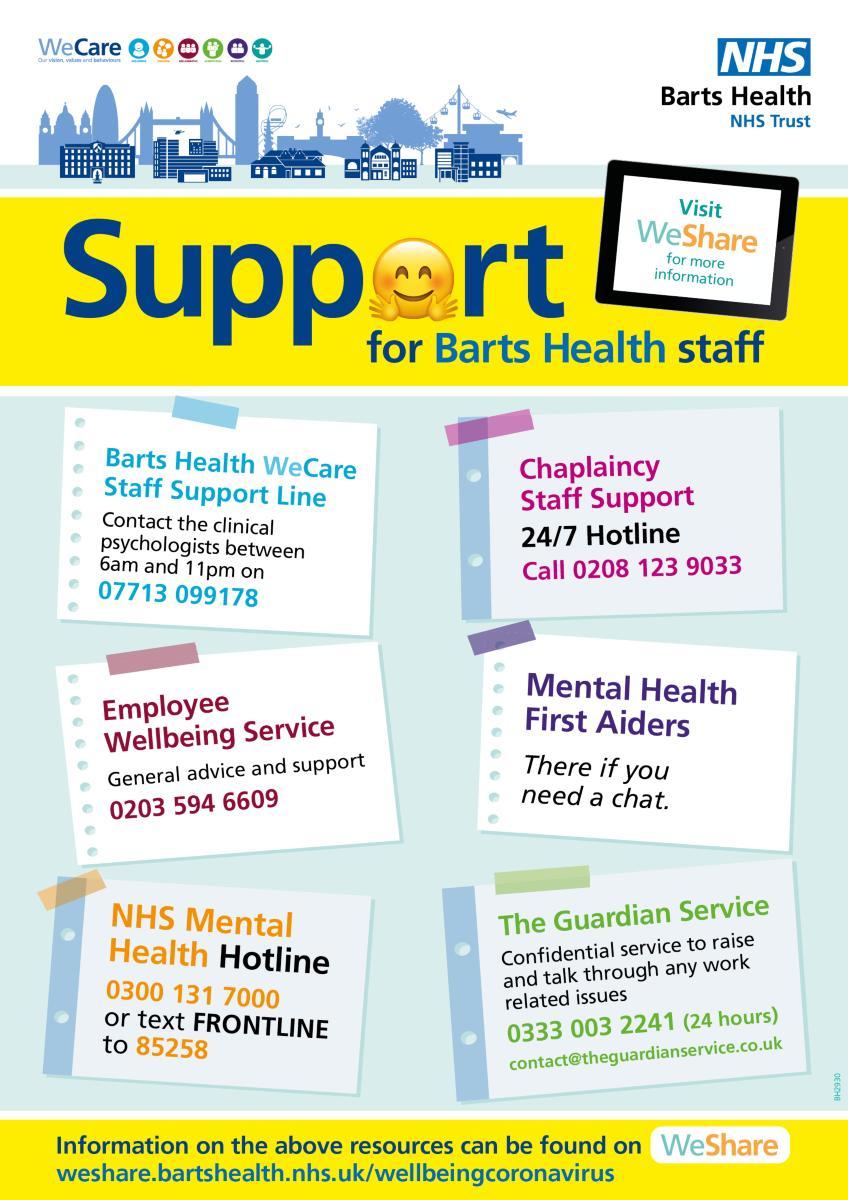 Barts Health wellbeing info
