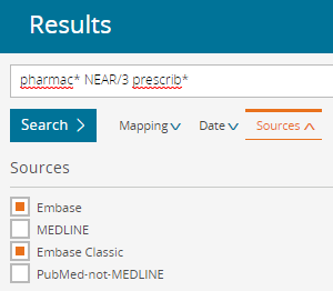 screenshot showing the sources options in Embase