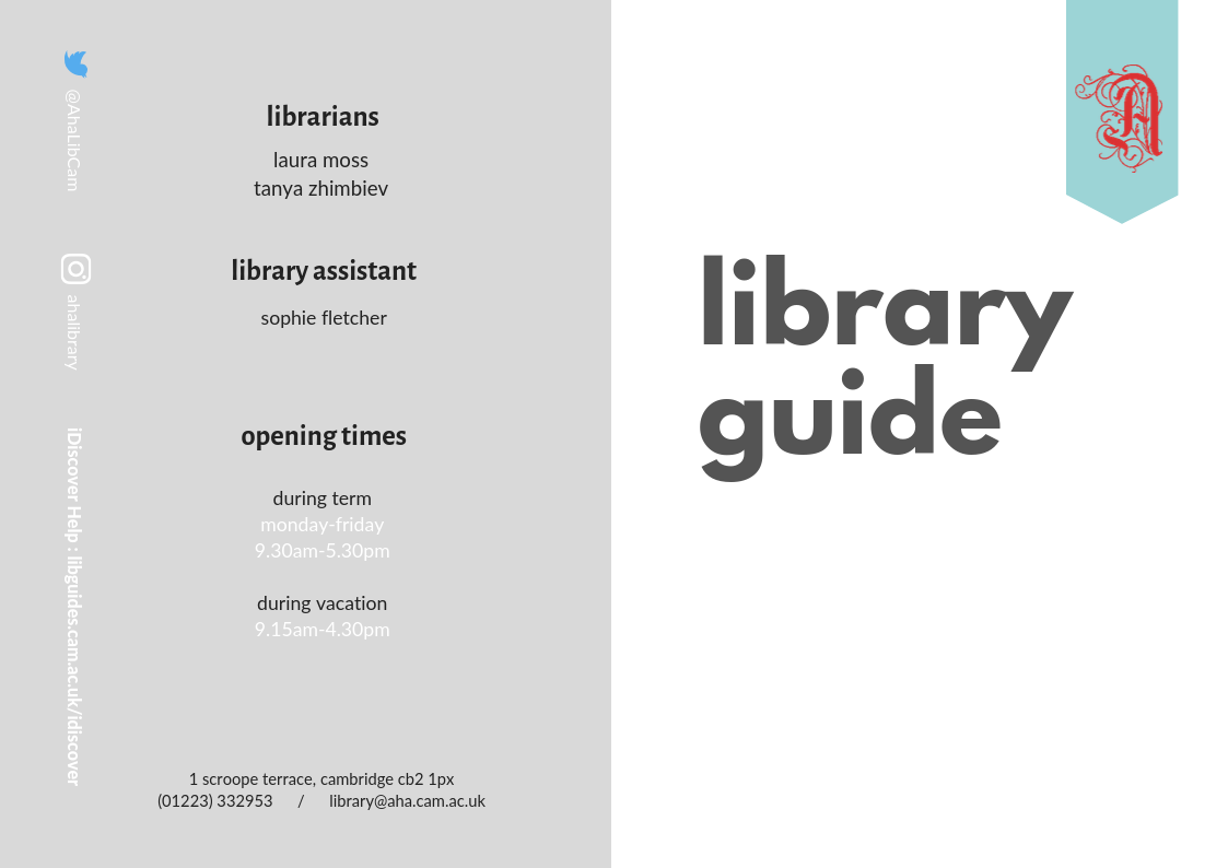 Enlarged image of the library guide front cover which we keep printed copies of in the library.