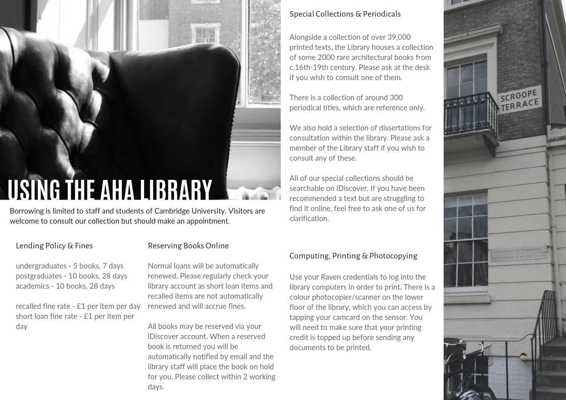Enlarged image of the library guide inside pages which we keep printed copies of in the library.