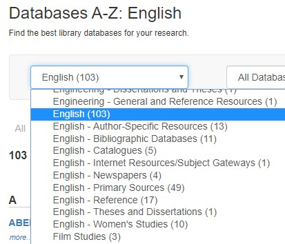 Screenshot of dropdown menu of English databases in Databases A-Z