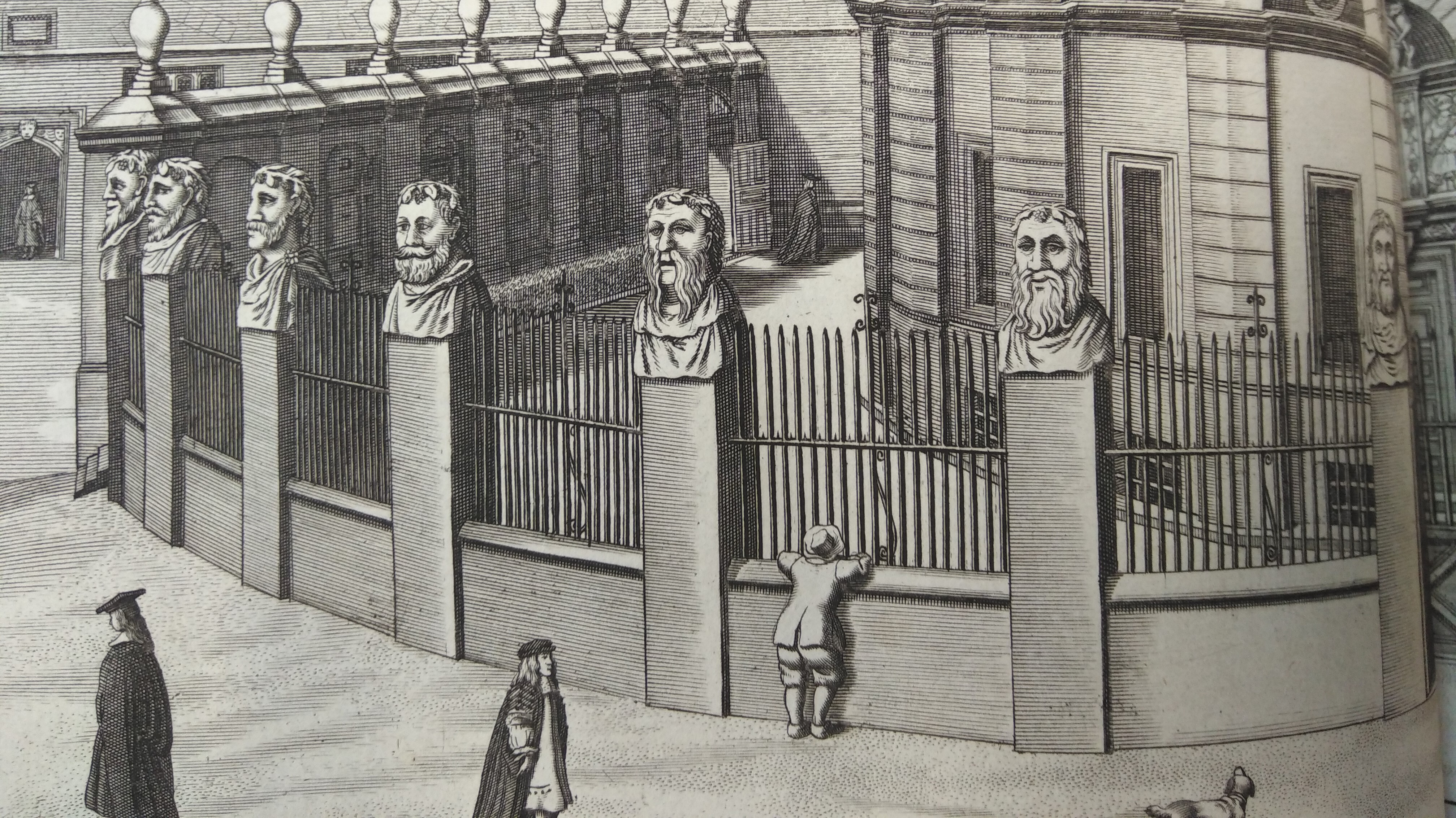 17th century engraving of the Sheldonian Theatre from Loggan's Oxford (1665)