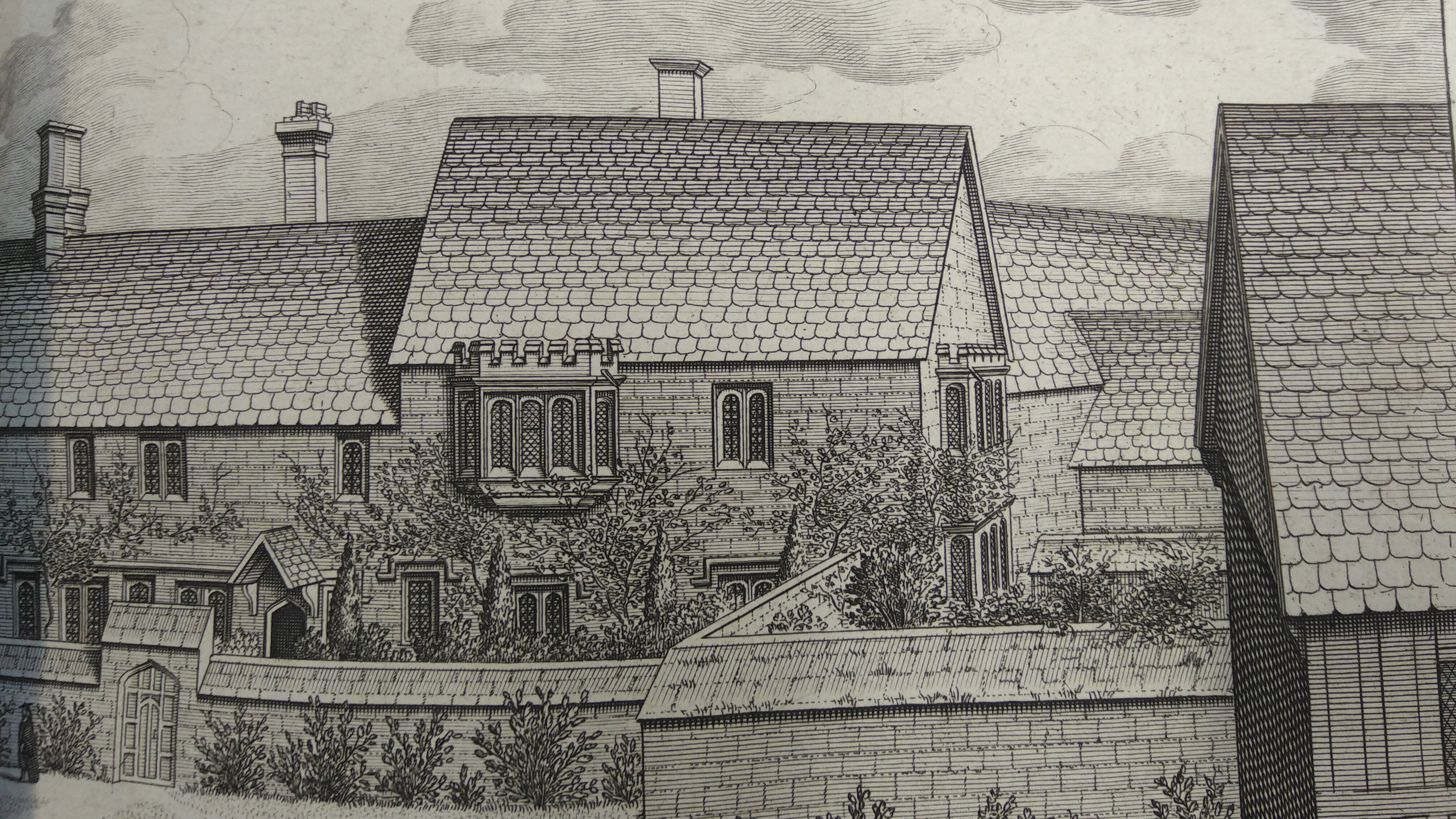 A printed engraving of old Hert Hall