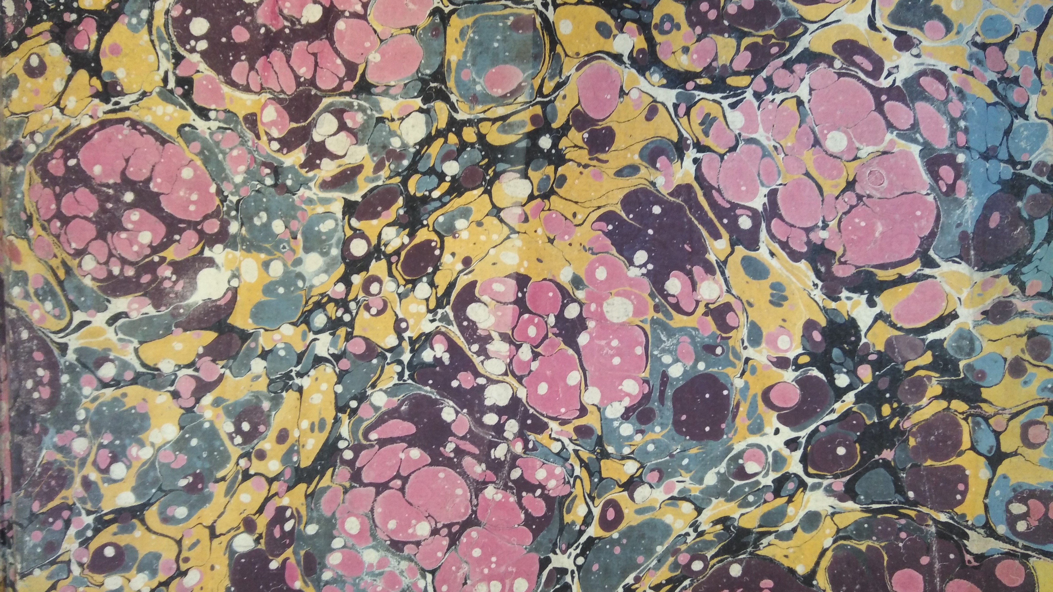 Marbled paper from the inside cover of an 18th century book