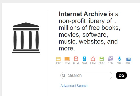 Internet Archive homepage screenshot
