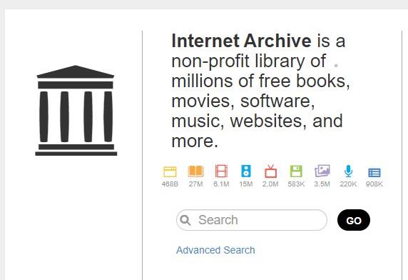 Internet Archive homepage screenshot