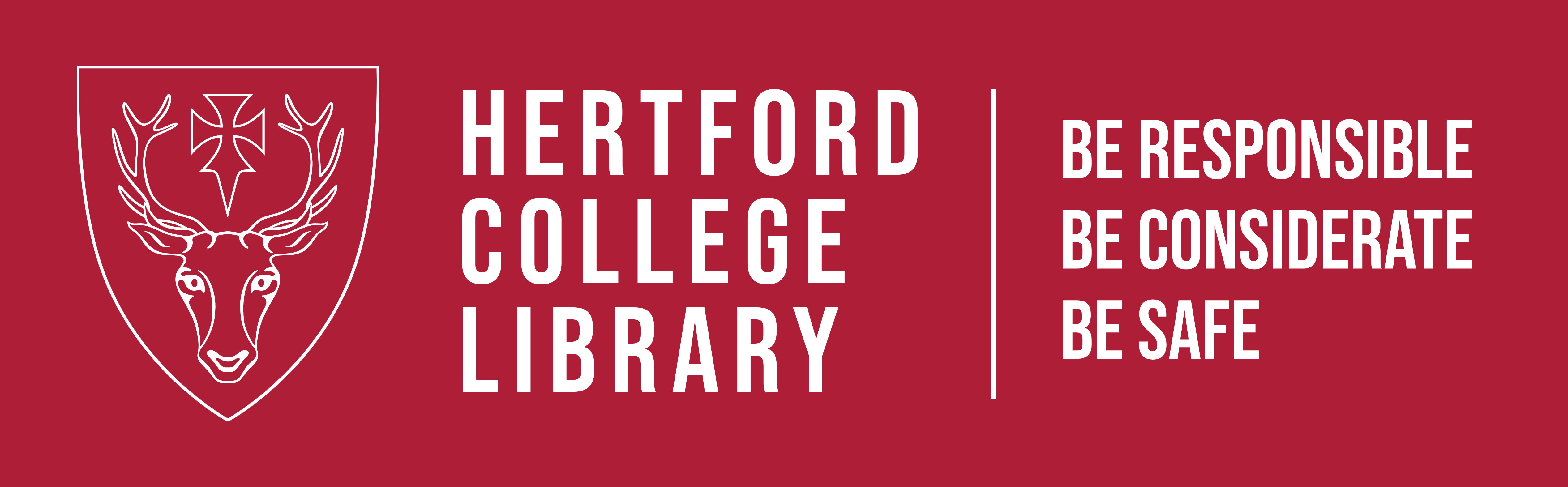 Hertford College Library Logo in red, with extra line: be responsible, be considerate, be safe