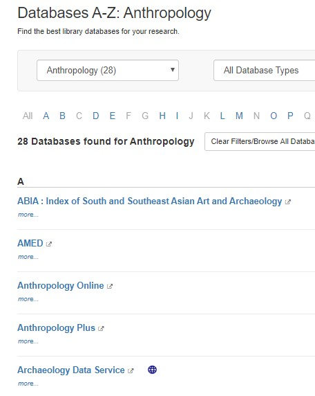 Anthrolopogy databases in Databases A-Z