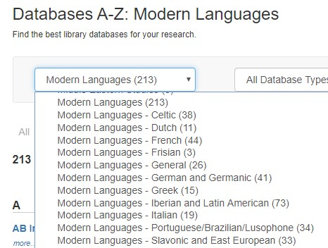 Screenshot of Modern Languages on Databases A-Z