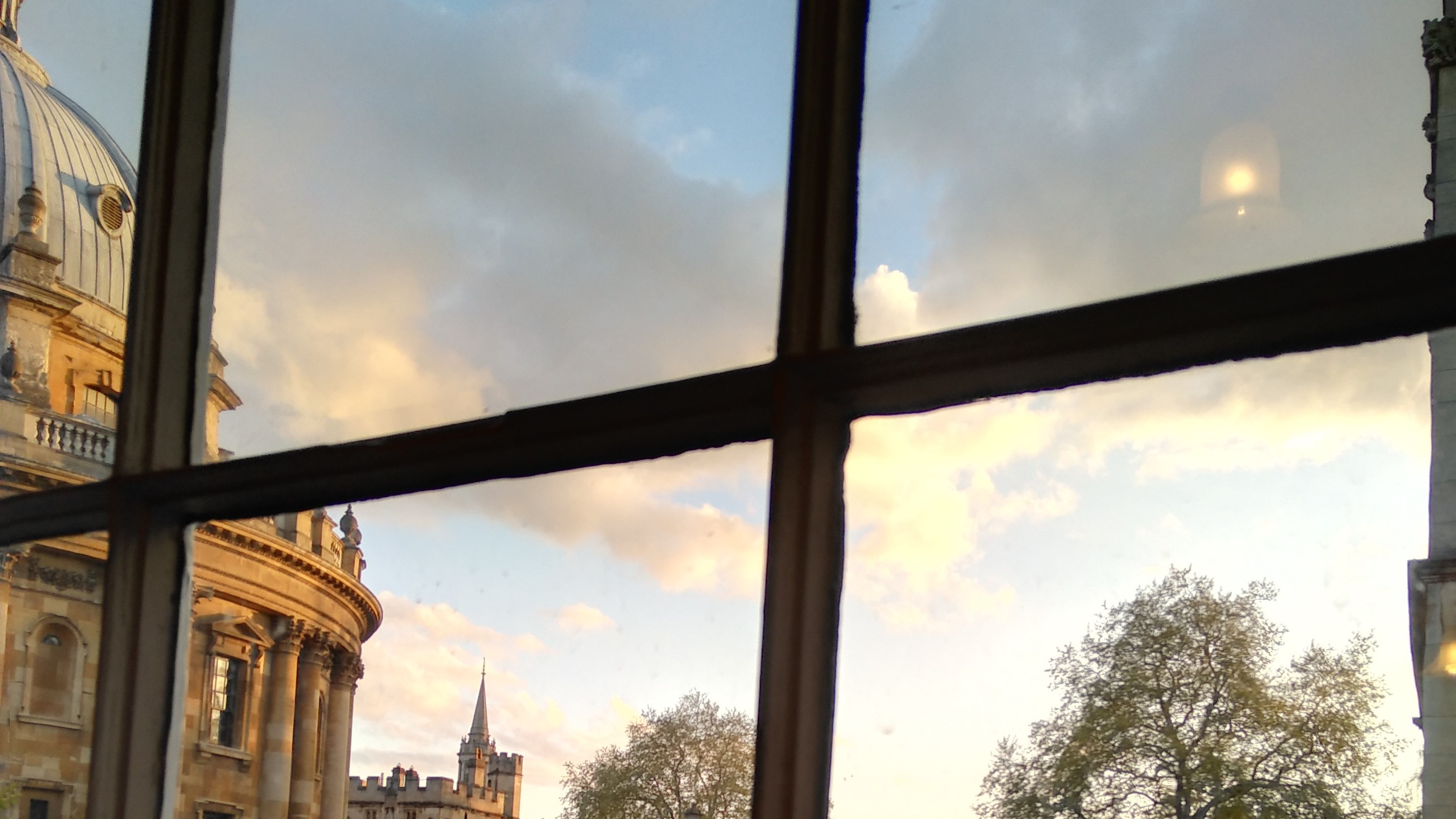 View of of the Old Lodgings window to the Rad Cam at sunset