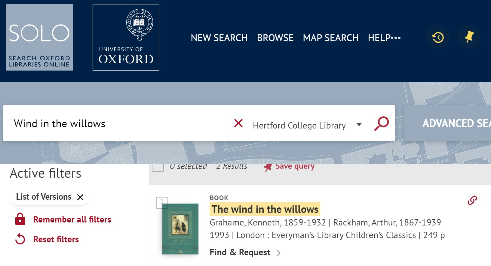 SOLO search result for Wind in the Willows
