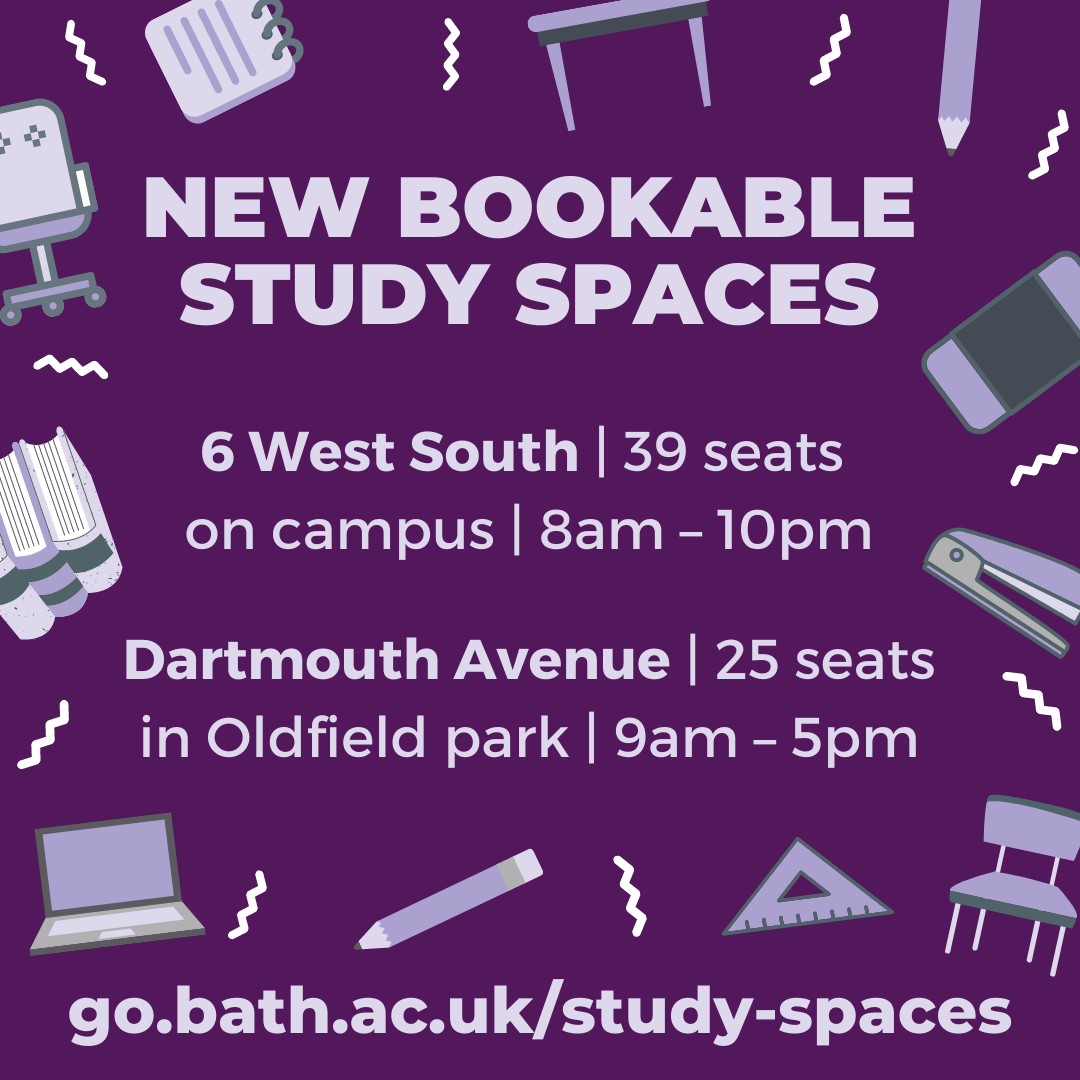New bookable study spaces on and off-campus from Saturday 16 January