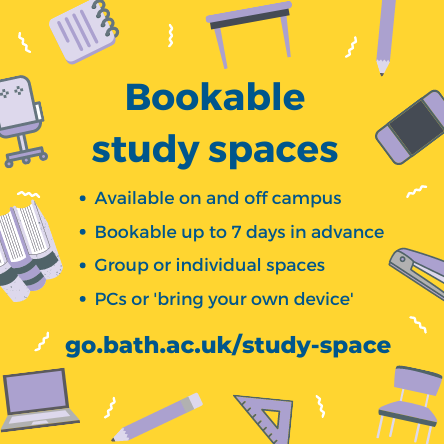 Bookable study spaces in the Library
