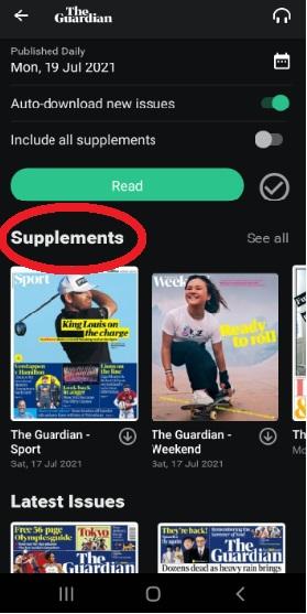 PressReader app supplements