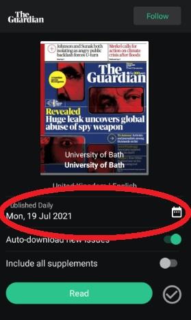 PressReader app calendar