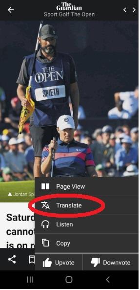 Translate in PressReader app