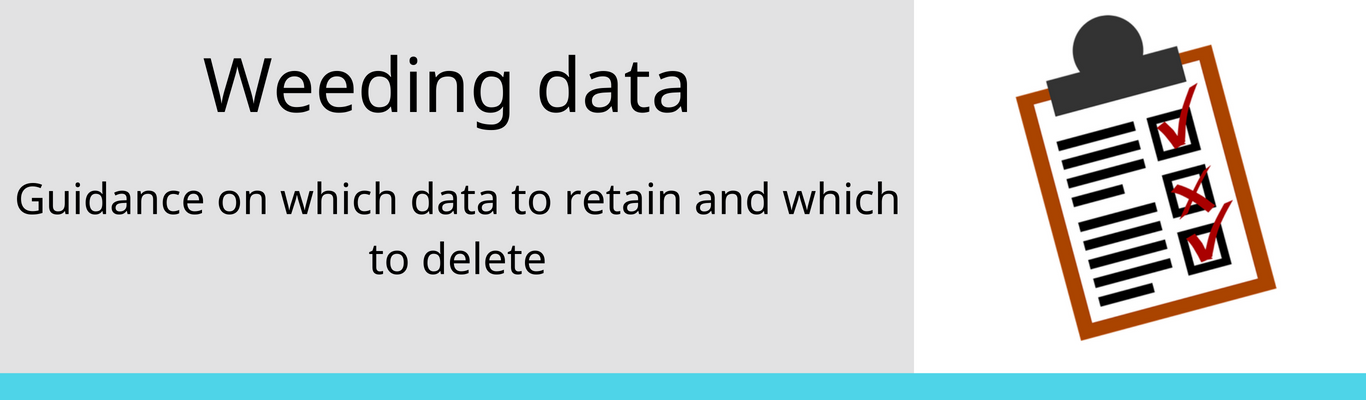 deciding which data to keep and which to delete