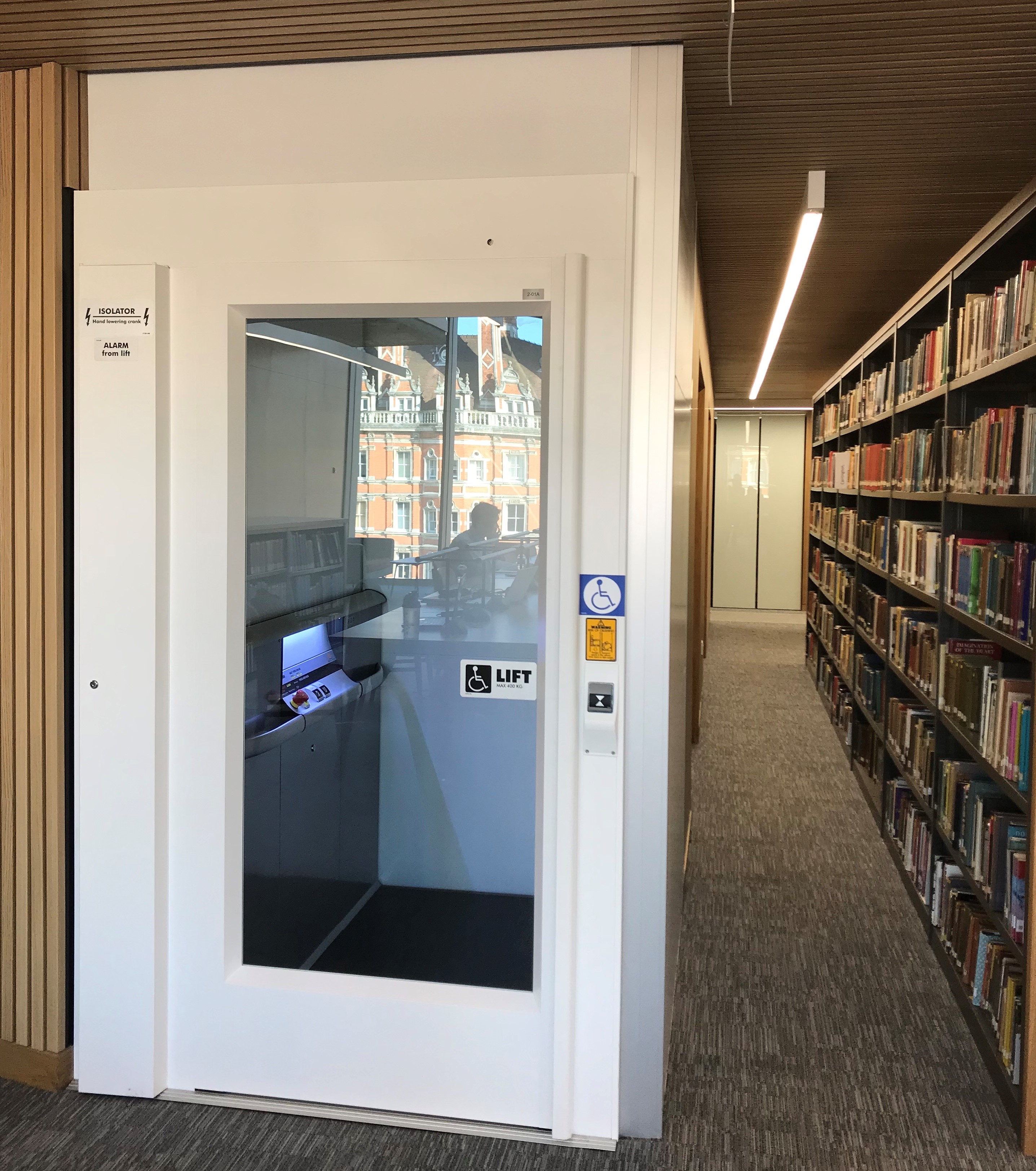 Image showing the lift from the second floor to the mezzanine in the Feature Wing Side of the library