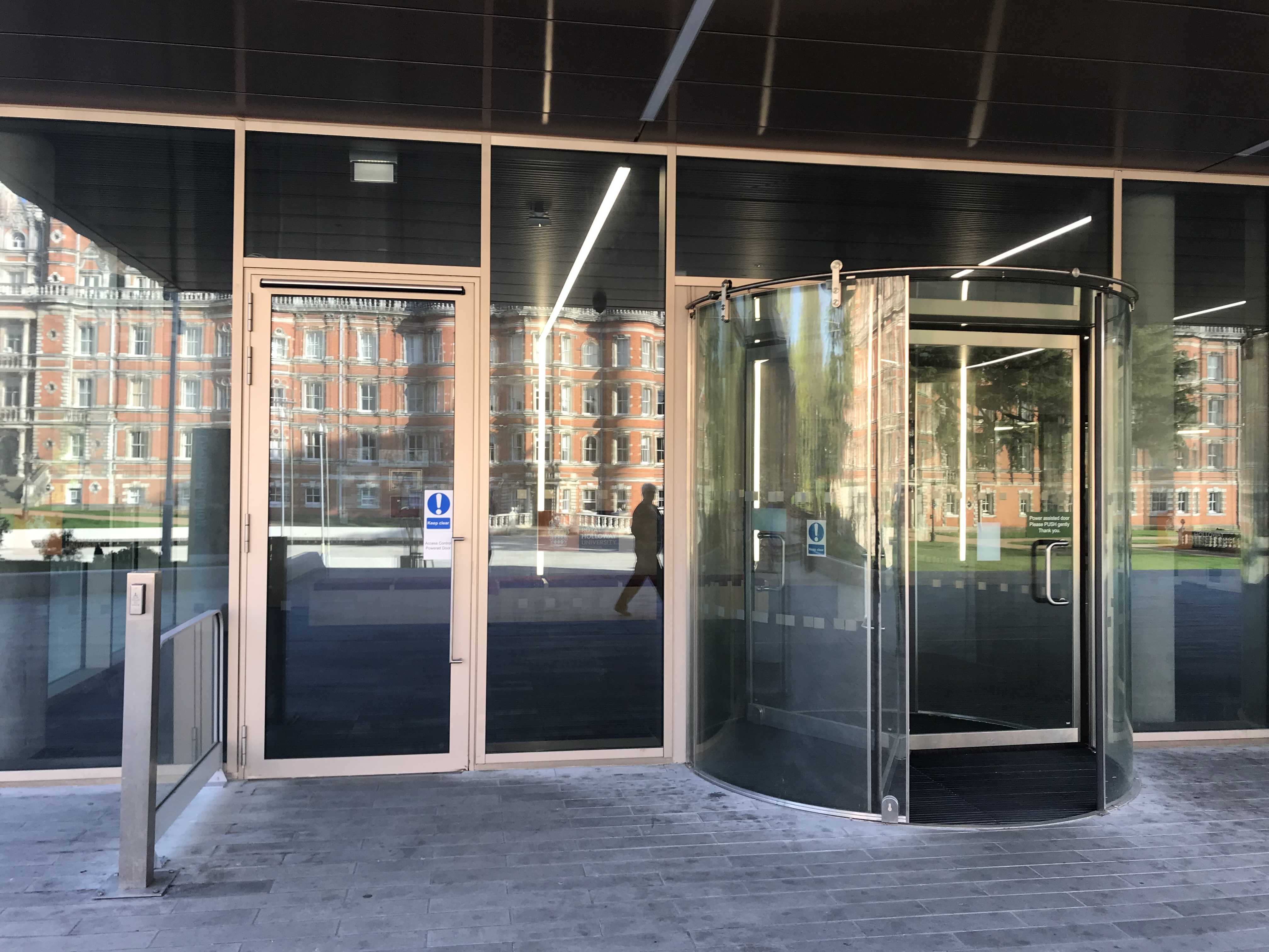 Close up image of the accessible doors at the main building entrance