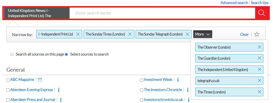 A range of news sources selected on Nexis UK.