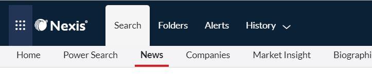 The Nexis UK header bar, highlighting the 'News' search tab.