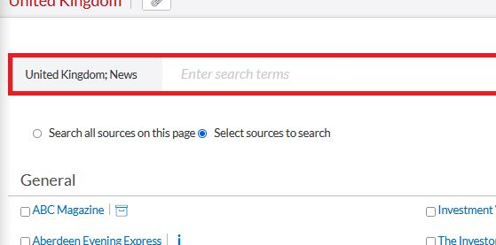 The 'Select sources to search' option on Nexis UK.