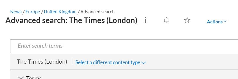 The Nexis UK advanced search page for The Times (London).