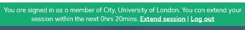"""A banner from the Nkoda app advising that """"You are signed in as a member of City, University of London. You can extend your session within the next 0hrs 20mins. Extend session 