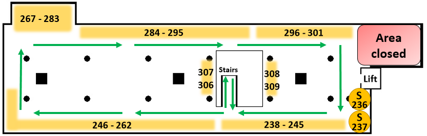 Level 5 map showing one way system and seating areas.